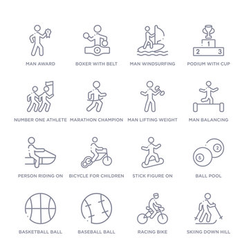 set of 16 thin linear icons such as skiing down hill, racing bike, baseball ball, basketball ball with line, ball pool, stick figure on snowboard, bicycle for children from sports collection on