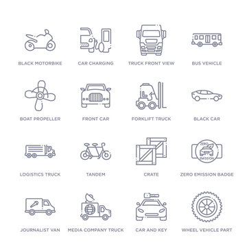 set of 16 thin linear icons such as wheel vehicle part, car and key, media company truck with satellite, journalist van, zero emission badge, crate, tandem from transport collection on white