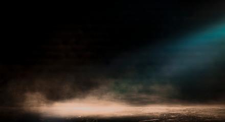 Background of empty room, street, neon light, smoke, fog,  concrete floor. 3D rendering.