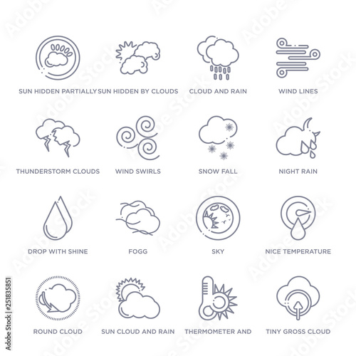 set of 16 thin linear icons such as tiny gross cloud
