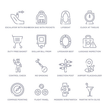 set of 16 thin linear icons such as martini with olive, modern wirstwatch, flight panel, compass pointing north east, airport placeholder, direction post, no smoking from airport terminal collection