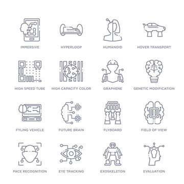set of 16 thin linear icons such as evaluation, exoskeleton, eye tracking, face recognition, field of view, flyboard, future brain from artificial intellegence collection on white background,