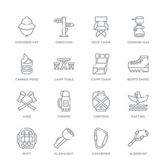 set of 16 thin linear icons such as slingshot, carabiner, flashlight, raft, rafting, canteen, thermo from camping collection on white background, outline sign icons or symbols
