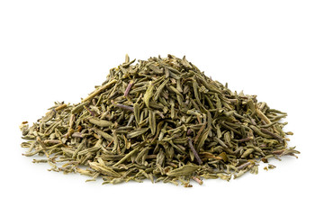 A pile of dried rubbed thyme isolated on white.