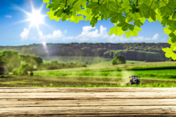Fototapete - desk of free space and farm background.