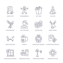 set of 16 thin linear icons such as christmas star, christmas street light, christmas train, window, wishlist, wreath, cocoa from collection on white background, outline sign icons or symbols