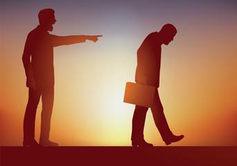 Concept du licenciement abusif et de la loi de la concurrence, avec un patron autoritaire qui exerce son pouvoir en renvoyant un de ses employés pour incompétance en le montrant du doigt.