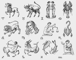 Zodiac icons. Astrology horoscope with signs. Calendar template. Collection outline animals. Vintage style. Libra Scorpio Sagittarius Capricorn Aquarius Pisces. Aries Taurus Gemini Cancer Leo Virgo.