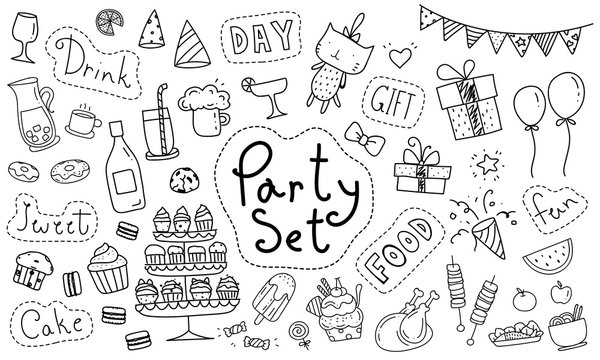 Cute party hand drawn doodle collection isolated on white background. Kawaii party doodle drawing for decoration scrapbook, invitation card and party poster.