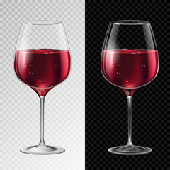 Realistic vector illustration of champagne or wine glass isolated on transperent background