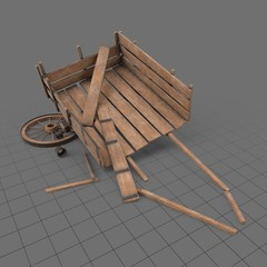 Broken wooden cart 2