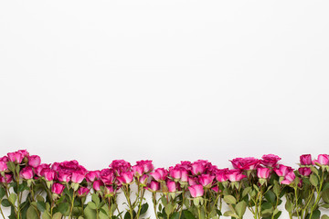 Flowers composition. Frame made of red rose on white wooden background. Flat lay, top view, copy space.