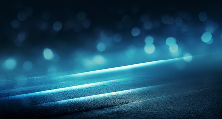 Background scene of empty street lit by spotlight. Neon light, smoke. Abstract background with bokeh