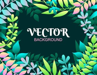 Colorful spring background with leaves. Vector illustration for summer of spring invitations, posters, greeting cards etc.