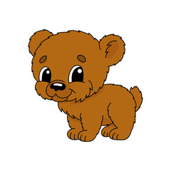 Brown bear. Cute flat vector illustration in childish cartoon style. Funny character. Isolated on white background.