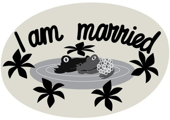 Lettering. I am married. A phrase expressing an idea.