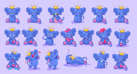 set of elephant with different emotions