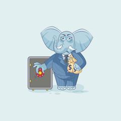 elephant business sticker emoticon open safe