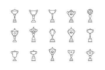 Trophy winner cup icon flat vector icon. Prize flat vector icon set
