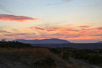 grassland steppe sunrise red and purple beautiful stunning light reflection