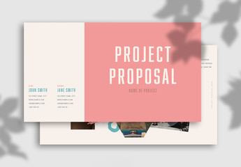 Project Proposal Layout with Pink and Blue Accents