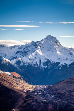 """Panorama of the ski station of the """"2 Alpes"""" in the French Alps"""