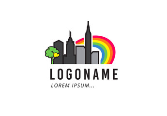 Skyline with Rainbow Logo Layout
