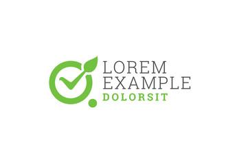 Green Leaf Checkmark Logo Layout