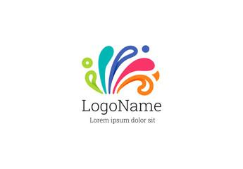 Multicolored Wave Logo Layout