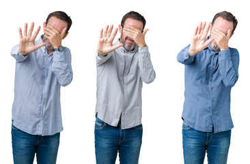 Collage of handsome senior business man over white isolated background covering eyes with hands and doing stop gesture with sad and fear expression. Embarrassed and negative concept.
