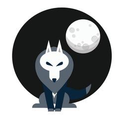 Wolf leader under the full moon silhouette vector illustration wild werewolf - Vector