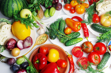 Appetizing vegetables in plates on the table. Cabbage, eggplants, tomatoes, cucumbers, peppers, parsley.