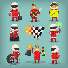 Set of colorful racing participants, champions, engineers and pit stop workers. Isolated vector characters.