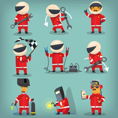 Set of colorful racing participants, champions, engineers and pit stop workers. Isolated vector characters