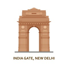 India Gate, New Delhi. Indian most famous sight. Architectural building. Famous tourist attractions. Vector illustration.
