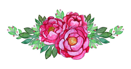 Watercolor hand painted pink peony flowers with leaves.
