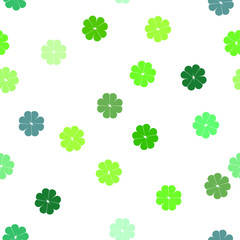 Seamless Repeating Vector Pattern Clover Shamrocks on White Ground