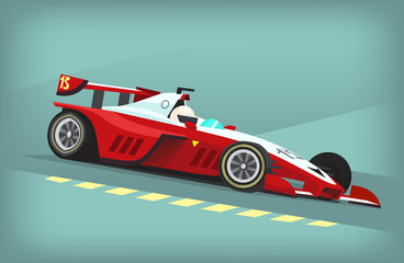 Red and white fast motor racing bolid. Vector illustration poster Wall mural