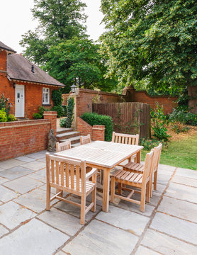 Garden furniture on patio of UK house
