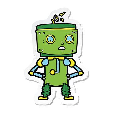 sticker of a cartoon robot with hands on hips