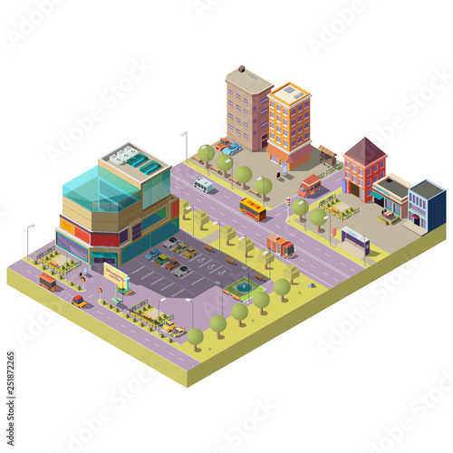 Vector 3d isometric city center - a shopping mall, supermarket with