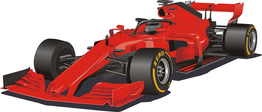 Racing car in the vector. Formula 1. Red car on white background