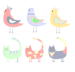 set of cute colorful cats and birds