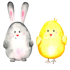 Watercolor set of 2 animals: gray rabbit and yellow chicken on a white background. Illustration. Easter. Egg