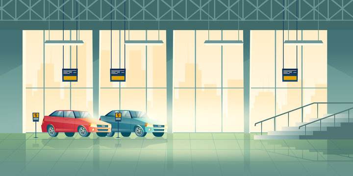 Modern sedan new models standing, waiting for buyers in exhibition hall, dealer center or salon cartoon vector background. Car shop interior illustration. Automobile industry advertising background