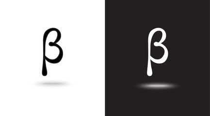Vector sign Beta on black and white background