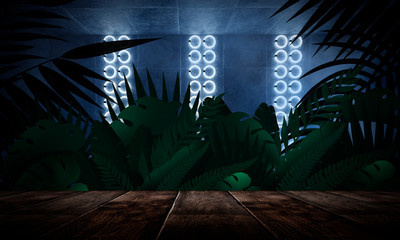 Dark empty room, wooden table, brick walls. Tropical leaves, neon light. Night view.