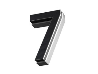 Number 7 - steel and carbon extruded number isolated on white background