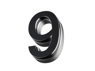 Number 9 - steel and carbon extruded number isolated on white background