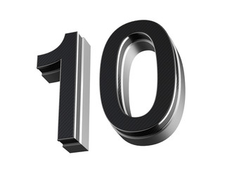 Number 10 - steel and carbon extruded number isolated on white background